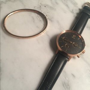 MVMT Rose Gold watch and bangle
